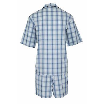Champion Mens Polycotton Short Pyjama Lounge Wear Set - Blue - Small 36-38 Chest