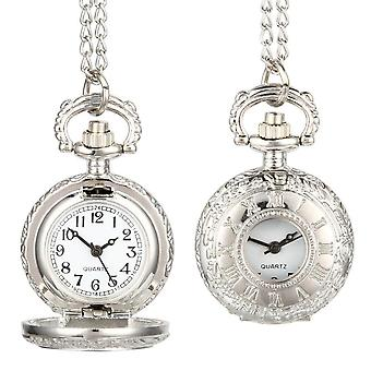 Fashion Vintage Pocket Watch Alloy Roman Number Dual Time Display Clock Necklace Chain Watches