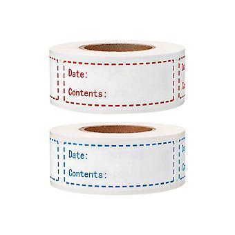 Étiquettes d'aliments sur rouleau, autocollants alimentaires 2pcs pour marquer la durée de conservation des aliments pour voir rapidement la validité des aliments