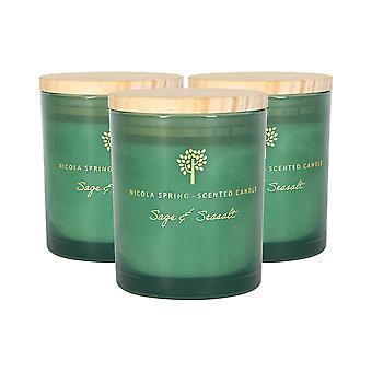 3x soja wax geurkaarsen aromatherapie cadeau 21 uur branden 130 g salie en seasalt