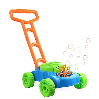 Children Foam Mower Toy Outdoor Game Non Toxic Fun Automatic Bubble Machine With Music (Green)