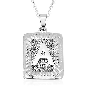 TJC Initial Alphabet A Necklace for Women in Stainless Steel