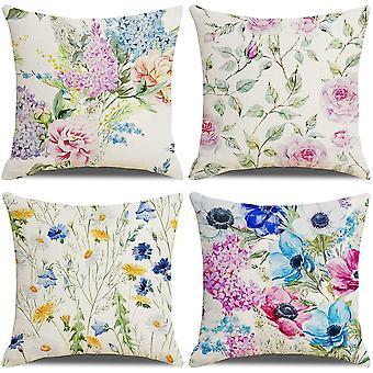 Packung mit 4 Kissenbezügen Pfingstrose Chrysantheme Gras Muster Baumwolle Leinen werfen Kissenbezüge Kissenbezüge 18x18 Zoll