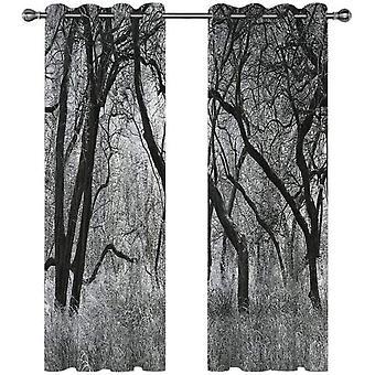 """חדר שינה וסלון קישוט חלון וילון האפלה 2 חלקים סט 3d שחור ולבן יער נוף וילון 140x240 ס""""מ"""