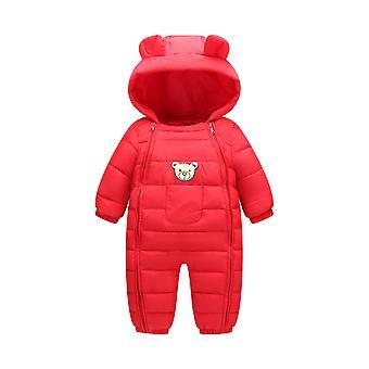 ילדים למטה כותנה דוב אוזניים Romper התינוק לצאת כדי לחמם כותנה