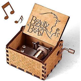 Schönheit und das Tier Musik-Box, Vintage klassische Holz Hand Kurbel geschnitzt