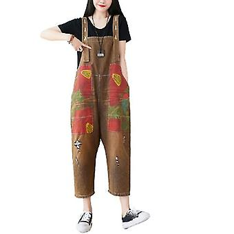 Retro Loose Fitting Printed Floral Overalls