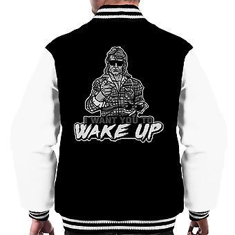I Want You To Wake Up They Live Men's Varsity Jacket