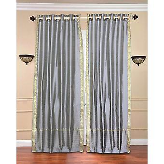 Anello superiore Sari pura cortina di grigio / drappo / pannello - pezzo