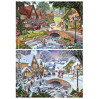 Gibsons Summer Days & Snowflakes Jigsaw Puzzle (2 x 500 Pieces)