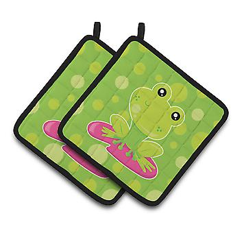 Frog on Lily Pad Green Polkadots Pair of Pot Holders