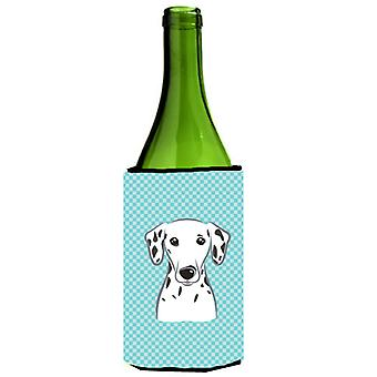 Checkerboard Blue Dalmatian Wine Bottle Beverage Insulator Hugger