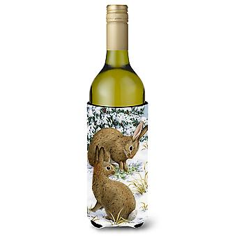 Rabbit searching for Grass in the Snow Wine Bottle Beverage Insulator Hugger