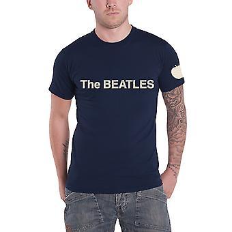 חולצת T החיפושיות הלהקה לוגו & האפליקציה תפוח הרשמי החדש Mens חיל הים כחול