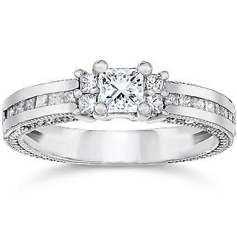 1 1 / 20ct Princess Cut diamant förlovningsring 14K vitguld