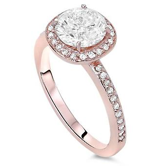 1ct Kissen Halo Diamant Verlobungsring 14K Rose Gold