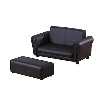 HOMCOM 2 Seater Kids Twin Sofa Childrens Double Seat Chair Furniture Armchair Boys Girls Couch w/ Footstool (Black)