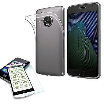 Silikoncase transparent + 0.3 H9 tempered glass for Motorola Moto G5S plus bag case cover