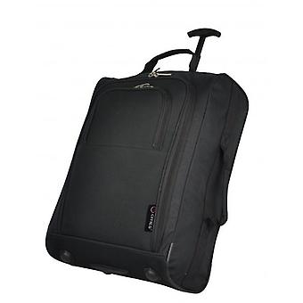 Black 21 Inch 2 wheeled Cabin Trolley Bag Flight Jet Travel Hand Luggage Lightweight