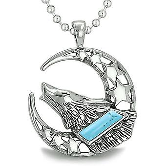 Howling Courage Wolf Moon Stars Amulet Positive Earth Energy Turquoise Protection Pendant Necklace