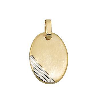 Remorque gravure plaque 18x13mm ovales bicolor rhodié diamants or 9Kt