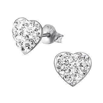 Hjerte - 925 Sterling sølv Crystal øret knopper - W21948x