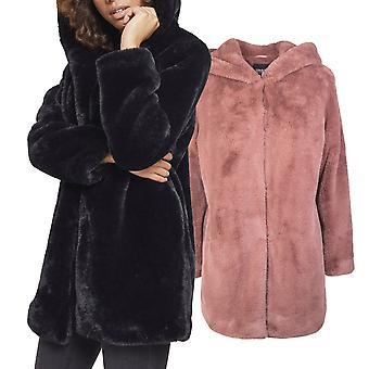 Urban Classics Ladies - Hooded Teddy Winter Mantel
