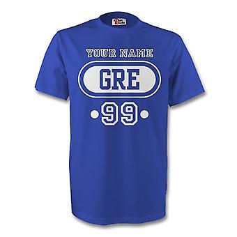 Griechenland Gre T-shirt (blau) + Ihren Namen (Kinder)