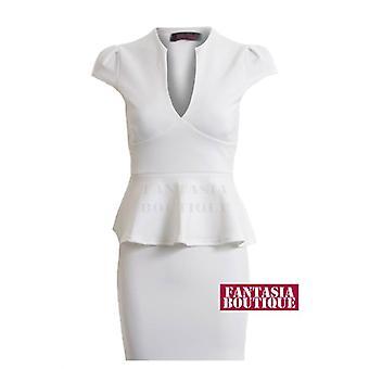 Nieuwe dames Cap mouw V hals peplos rok korte lengte Women's jurk