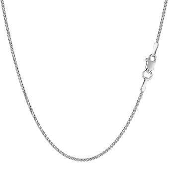 14k White Gold Round Wheat Chain Necklace, 1.2mm
