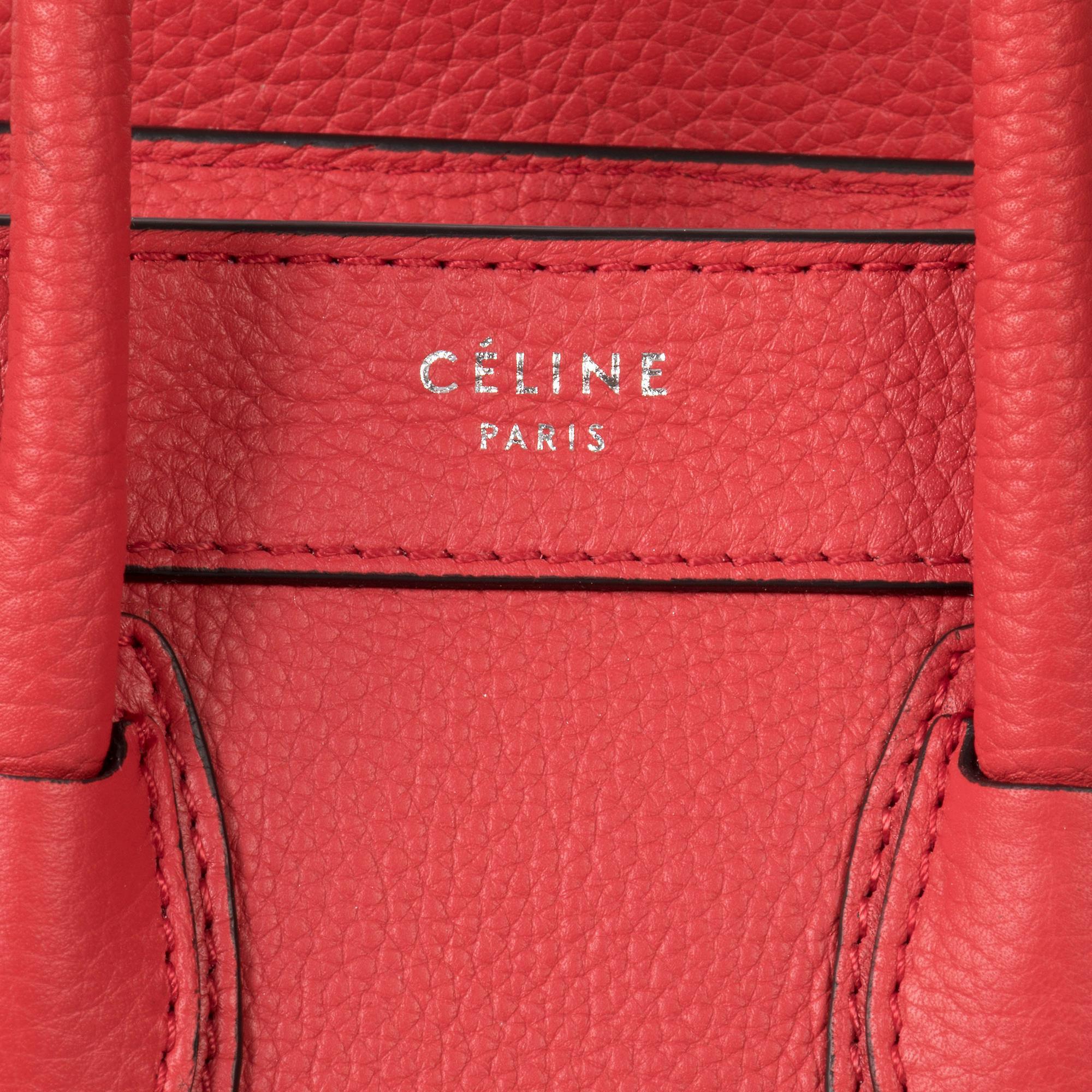 Celine Nano bagasjen Baby blå kornet kalveskinn Lær Nano bagasjen skulderveske