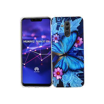 Huawei mate 20 Lite mobiltelefon fall skyddande fall cover stötfångare fjäril blå