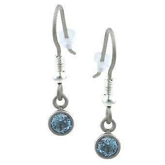 Ti2 titânio pequeno Gem Stone gota brincos - prata/azul