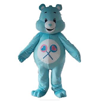 mascot SPOTSOUND of care bear blue and white, with lollipops