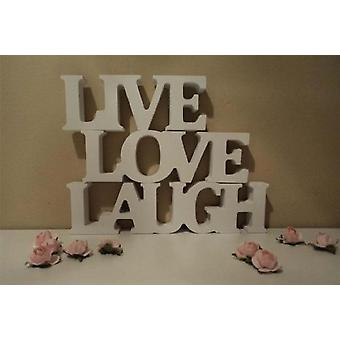 TRIXES Pack of 3 White Wood Quote Blocks Live Laugh Love Free Standing Stackable Blocks