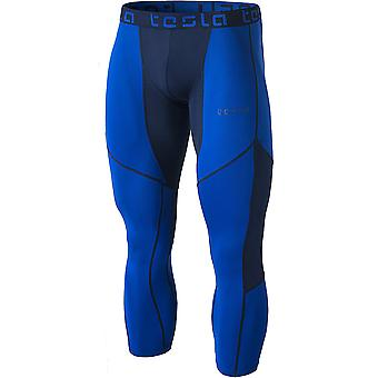 TSLA Tesla MUC78 Cool Dry Mesh 3/4-Length Sports Compression Tights - Blue/Navy