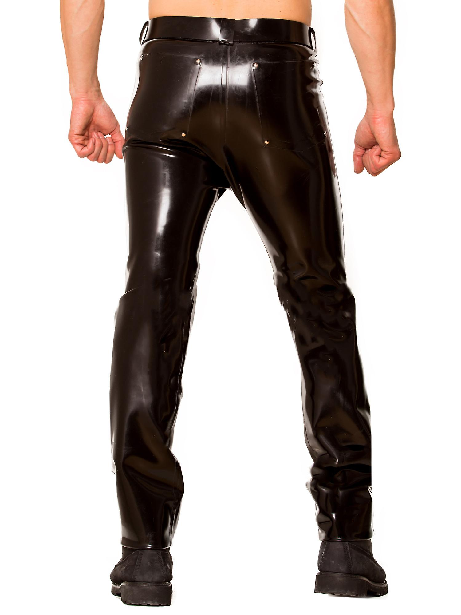 Skin Two Clothing Men's Jeans Pants Classic Cut Midnight Latex Rubber Black