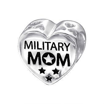 Herz militärische Mom - 925 Sterling Silber Plain Beads - W10305X