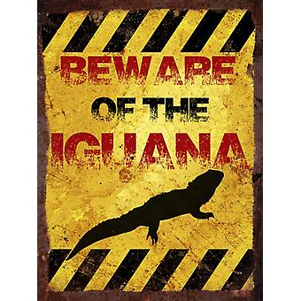 Vintage Metal Wall Sign - Beware of the iguana