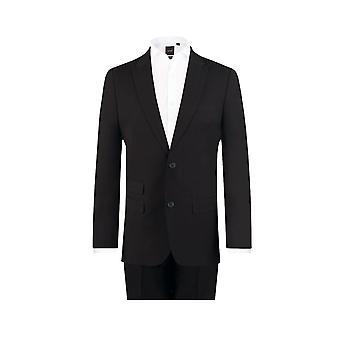 Dobell Mens zwarte reizen/Performance 2 stuk kostuum Regular Fit piek revers