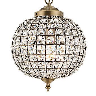 Endon Lighting Tanaro 1 Light Clear Glass Bead Pendant In Antique Brass