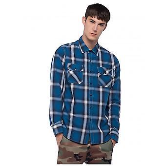 Replay Jeans Printed Cotton Shirt - Blue/white/black Check