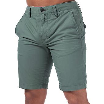 Mens Timberland Squam Lake Chino Shorts In Green- Zip Fly- Pockets To Sides-