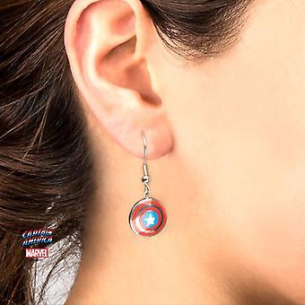 Women's Captain America Shield Logo Dangle Earrings
