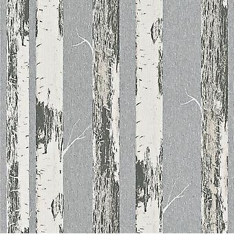 Rasch Amelie Birke Baum Wald Tapete Creme Silber Metallic Paste die Wand