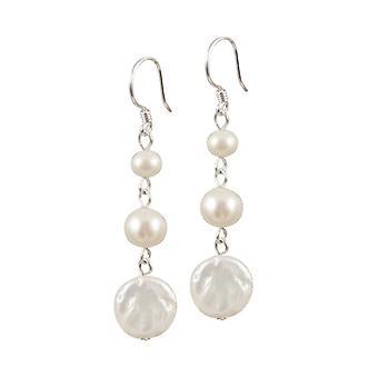 Eternal Collection Trinity Freshwater Coin Pearl Drop Sterling Silver Drop Pierced Earrings