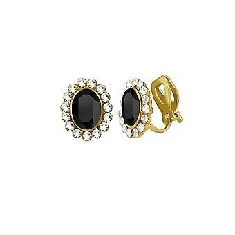 Ewige Sammlung Majestät Jet Black Crystal Gold Ton Stud Clip auf Ohrringe