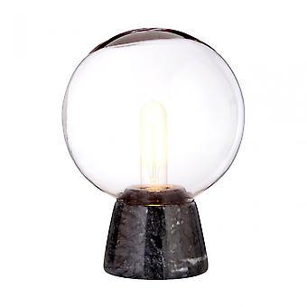 Premier Home Lamonte Black Marble Base/EU Plug Globe, Glass, Marble, Black