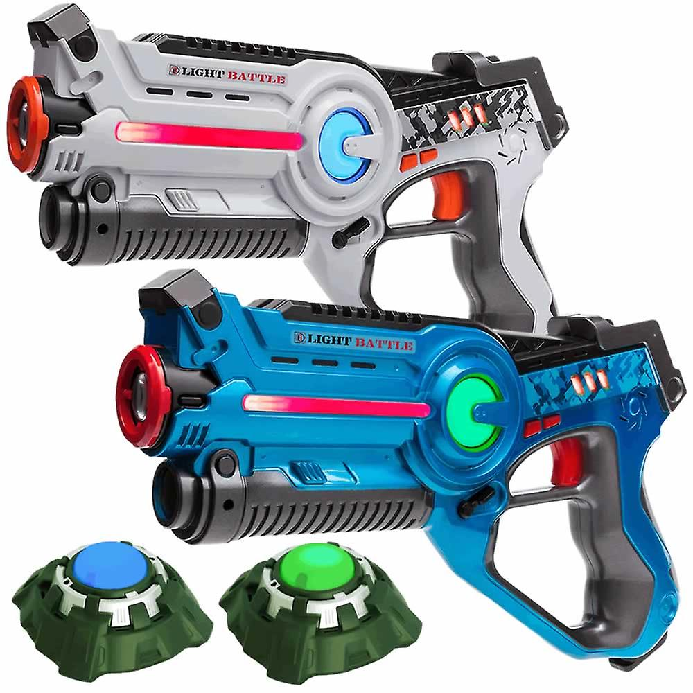 2 Laser Game guns (white, blue) + 2 targets