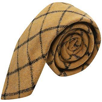 Honey Brown Birdseye Weave Check Tie